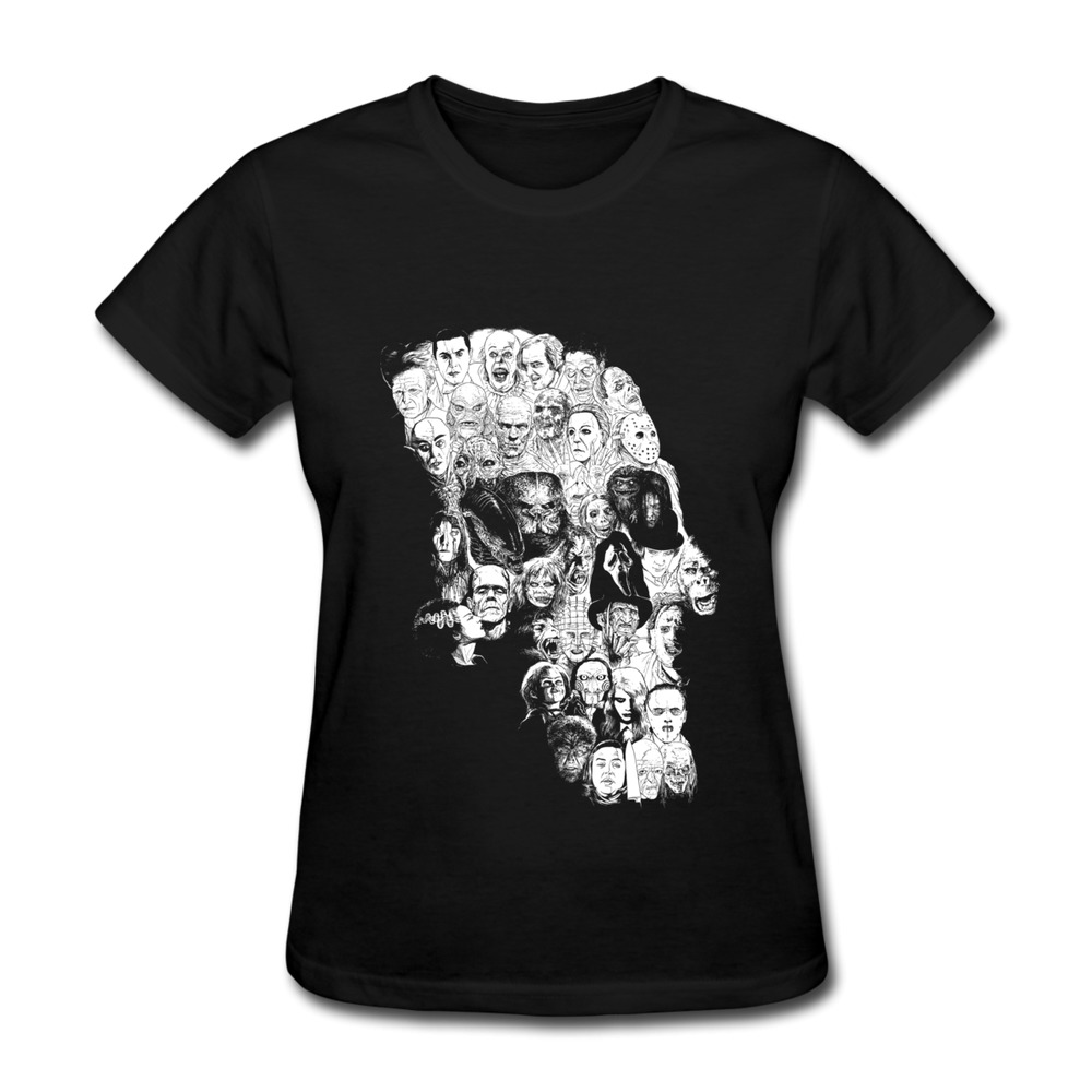 Customized short sleeve women tee shirt horror skull cool for Shirts with small logos