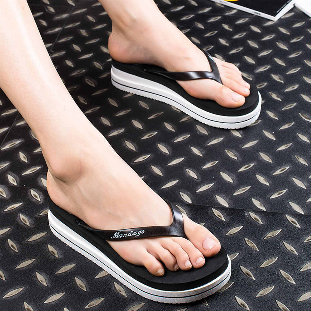 c124a917b ... Women Summer Beach Soft Wedge Shoes Flip Flops Flat Platform Slippers  Gift ...