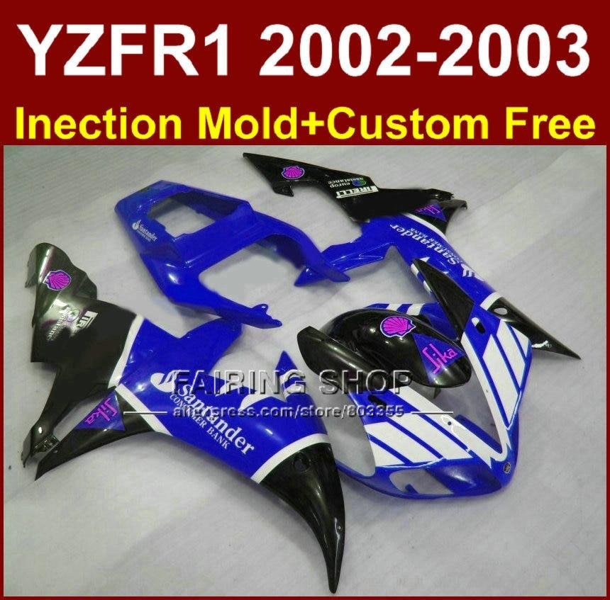 Blue sika santander body parts for YAMAHA YZF R1 2002 2003 fairings yzf r1 02 03 YZF1000 02 03 +custom fairing kit запчасти для мотоциклов yamaha yzf1000 02 03 r1