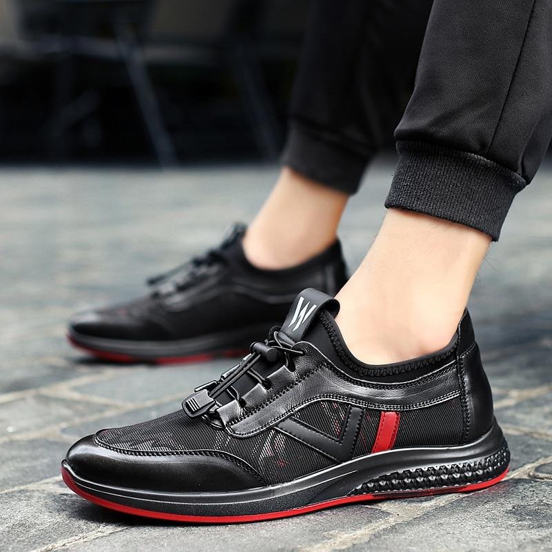 2019 Caminhada Calçado Sapatilhas Black Ocasionais Wearable Sapatos Homens Luxo Casual Confortáveis De Novo Para Pretas Couro Dos Apartamentos rFq6xAPprw