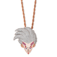 Hip Hop Bling Ice Out AAA CZ Zircon Dragon Ball Cartoon Characters Supper Baby Pendant Necklace for Men Rapper Jewelry Rose Gold