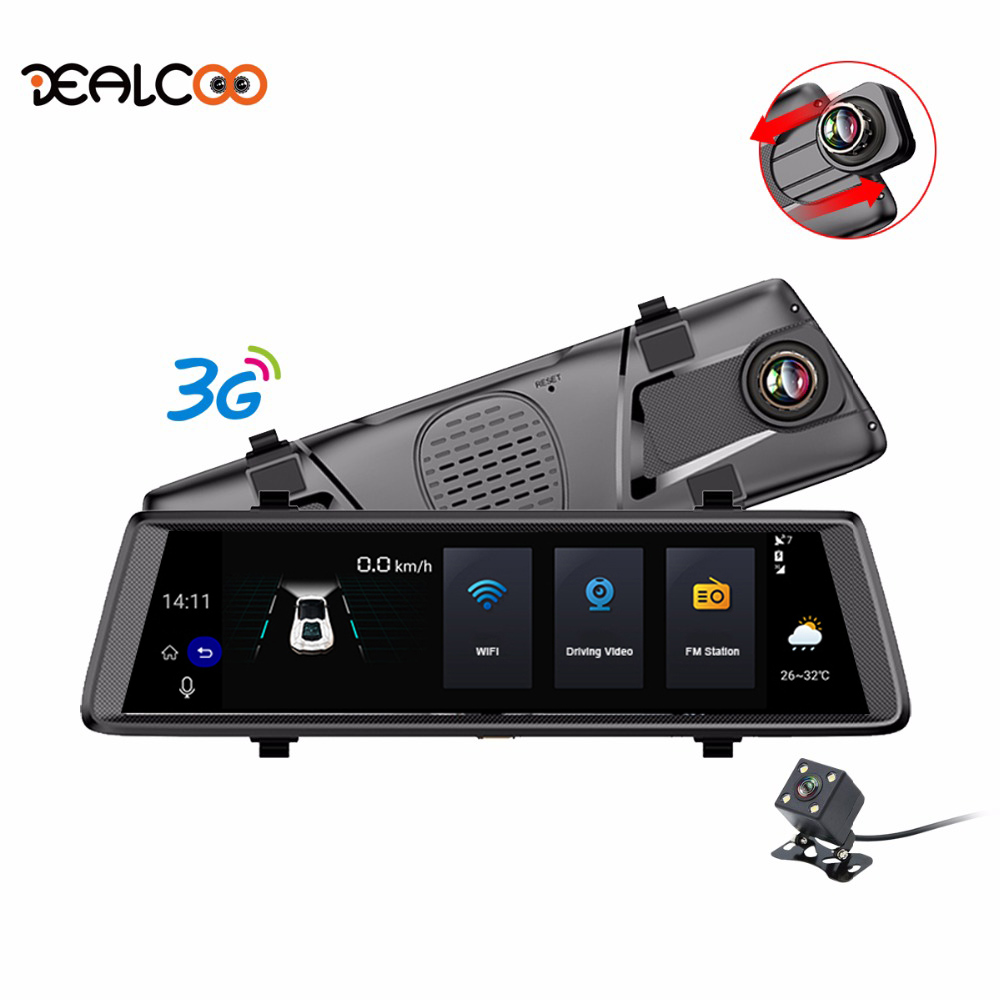 Dealcoo Car DVRs 10 Dash Cam Full Touch Screen 3G Android GPS Navigators FHD 1080P Dashcam Rearview Mirror Wifi Streaming Media
