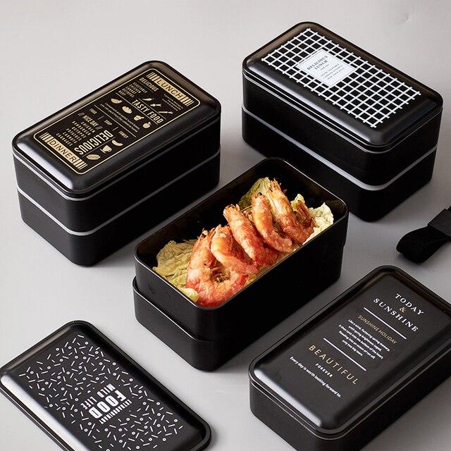 2 Слои Microwavable обед коробок японский Стиль Пластик суши бенто Еда контейнер для детей и взрослых Школа Открытый посуды для пикника
