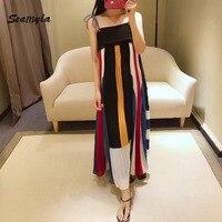Seamyla New 2017 Designer Runway Dress Women Color Block Striped Spaghetti Strap Pleated Dress Sexy Summer