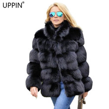 UPPIN шуба новое зимнее пальто женское пальто из искусственного лисьего меха плюс размер женский воротник-стойка длинный рукав искусственный мех куртка меховой жилет шуба из искусственного меха искусственный мех
