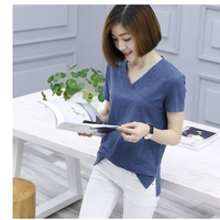 summer Spring large size bamboo cotton t shirt women short sleeve V neck loose cotton fat t shirt female crop top solid color