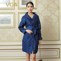 VOA 2017 Fall Fashion Blue Vintage Chinese Style Silk Jacquard Trench Coat Autumn Plus Size Middle