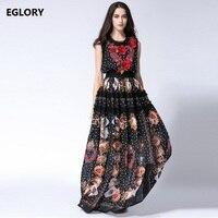 New 2018 Spring Maxi Dress Plus Size Big Women Sweetheart Prints Embroidery Lace Patchwork Sleeveless Silk Long Dress 7xl 6xl 5x
