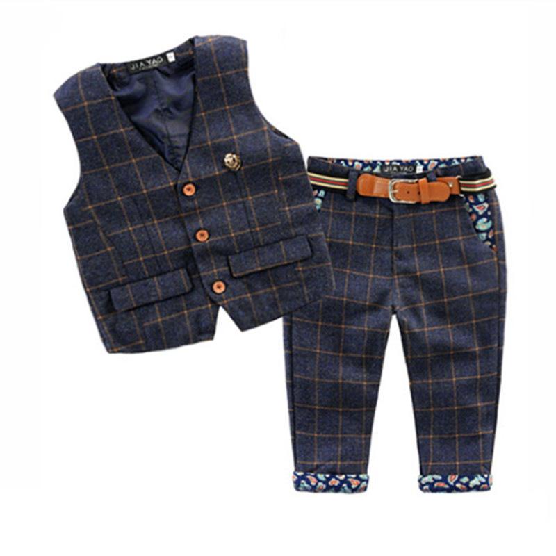 Boy Clothes Suit(vest+Pants)New Children Kids Boys Clothing Set Autumn Winter 2 Piece Sets plaid cotton vest trousers for patty