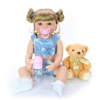 "22"" soft Full silicone reborn baby dolls bebes reborn menina bonecas alive real dolls for children gift bonecas"