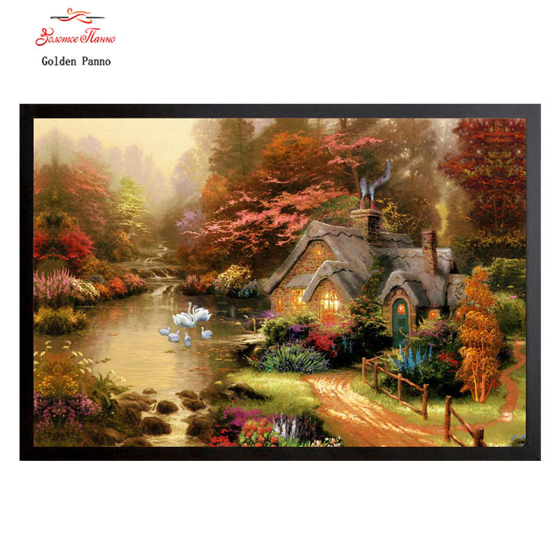 Golden Panno Needlework DIY DMC Cross Stitch Sets For Embroidery Kit Lakeside Cottage Landscape Tree Counted Cross-Stitching 07