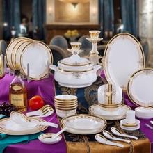 Authentic Jingdezhen ceramics tableware 56 head bone china tableware gift Vienna golden dishes set