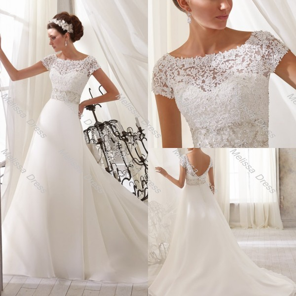 Wedding dress 2014 crew neckline a line floor length lace for Crew neck wedding dress