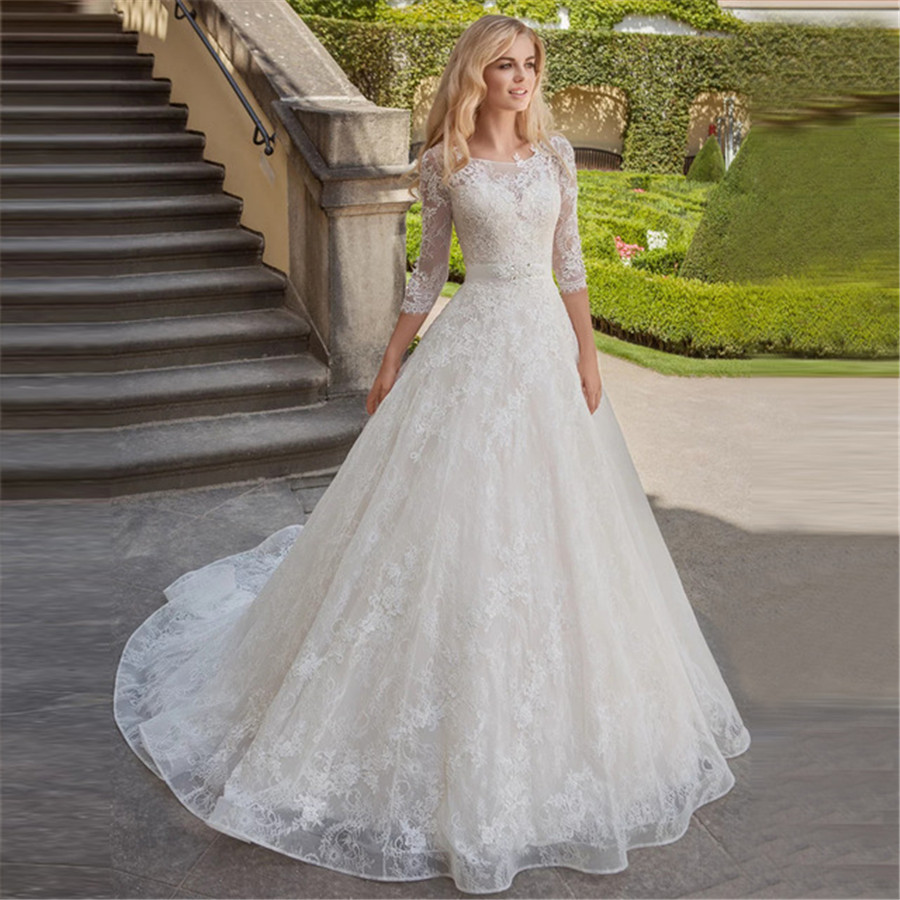 2020 Charming Lace Wedding Dress With Sleeves Scoop Neck  A-line Princess Bridal Gowns Robe De Mariage Bride Dress Sashes