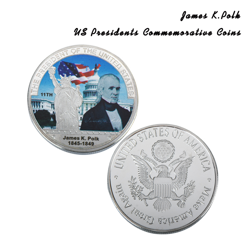 Decorative Metal Crafts American 11th President James K Polk Silver Coin Gifts