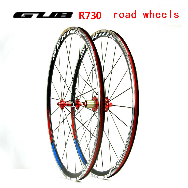 Freight free original GUB R730 road bike wheel 700C Aluminium alloy 10/11S bicycle wheels 20-24H Super light 1870G bike parts 1set front and rear 700c road bike wheel bicycle magnesium alloy three spokes parts integrated wheel fixed gear single speed
