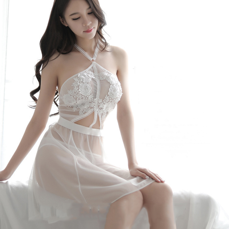 New sexy lingerie sexy hanging neck nightdress temptation clothing transparent hollow nightdress set in Babydolls Chemises from Novelty Special Use
