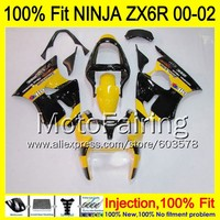 8Gifts Injection mold Body For KAWASAKI NINJA ZX 6R 00 02 INJ148 ZX 6R ZX6R 00 01 02 ZX636 2000 2001 2002 Fairing yellow black