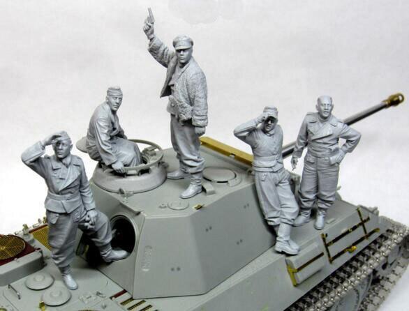 1/35 Resin Figure WW2 German Tank Crew 5pcs/set Model Kits