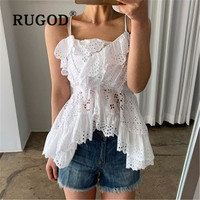 RUGOD 2019 New fashion sexy irregular vest hollow Ruffle halter top party tank top women