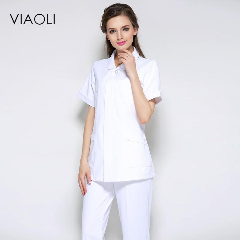 Nurse Service Party Doll Collar Split Suit Summer White Coat Drugstore Front Desk Medical Beauty Salon Medical Work Uniform Novelty & Special Use