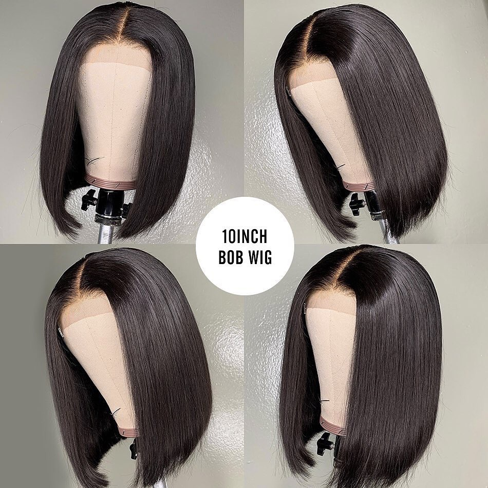 13x6 Short lace Front Human Hair Bob Wigs With Baby Hair Natural Hairline Brazilian Remy Straight