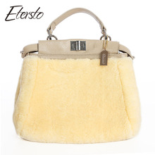 Etersto 2017 New Real Sheep Fur Women Bags Leather Fur Messenger Bag  Solid Big Handbag Fashion  Ladies Crossbody Bags
