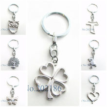 1pc Keychain Butterfly Tree of Life Owl Heart Key Ring Key Chain Charm Pendant Men Accessories Women Jewelry Making Gifts(China)