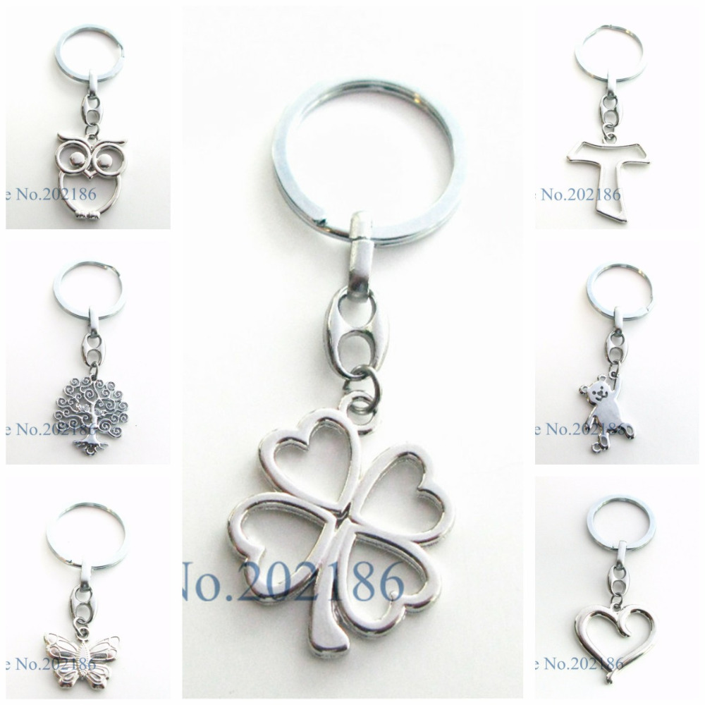 New Arrival 1pc Clover Owl Heart Charm Pendant Keychain Key Ring Chain Men Accessories Women Jewelry Making Gifts