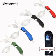 4 In 1 Outdoor Tableware (Fork/Spoon/Knife/Bottle Opener) Camping Stainless Steel Folding Pocket Kits For Hiking Survival Travel цена