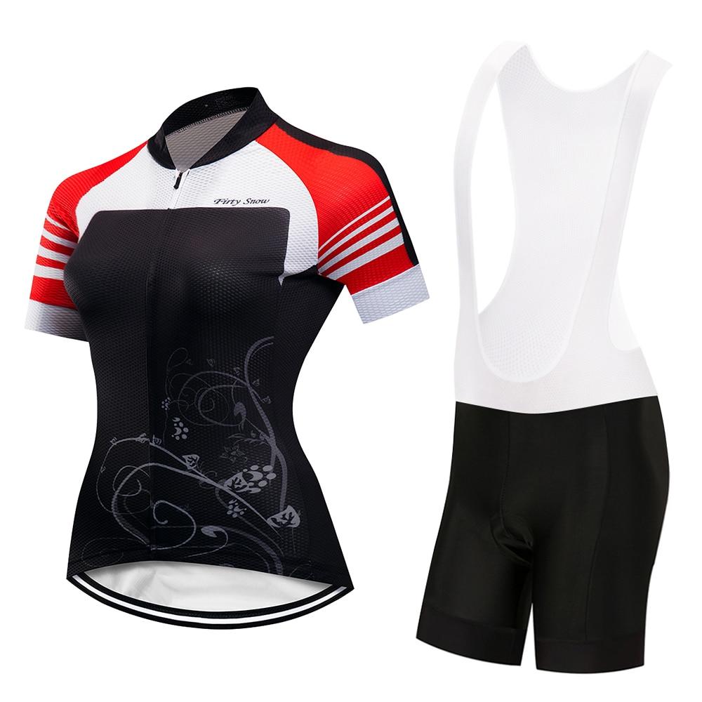 Womens Cycling Clothing Set Reflective Ladies Cycling Jerseys & Mountain Bike Shorts Set Maillot Cycling Clothes Kit Customize