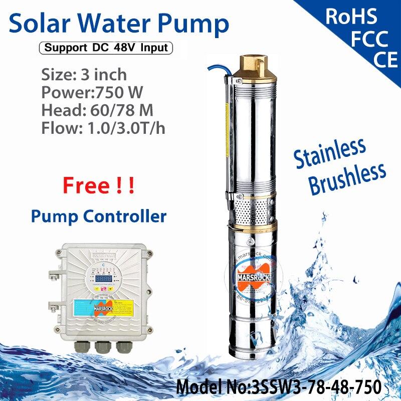 750 W DC48V Brushless ad alta velocità profondo solare pompa acqua con motore sincrono a magneti permanenti flusso max 3.0 T/H casa & agricoltura