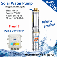 750W DC48V Brushless high speed solar deep water pump with permanent magnet synchronous motor max flow 3.0T/H home & agriculture