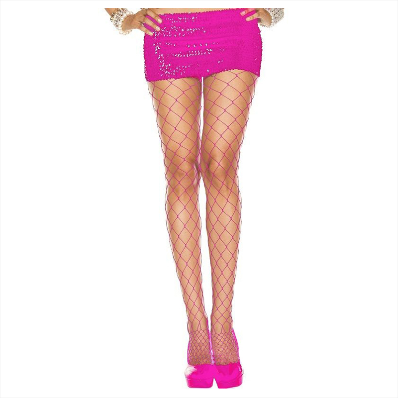 1 Pair Wide Diamond Net Fishnet Spandex Pantyhose Neon Punk Goth Tights, Rose Red