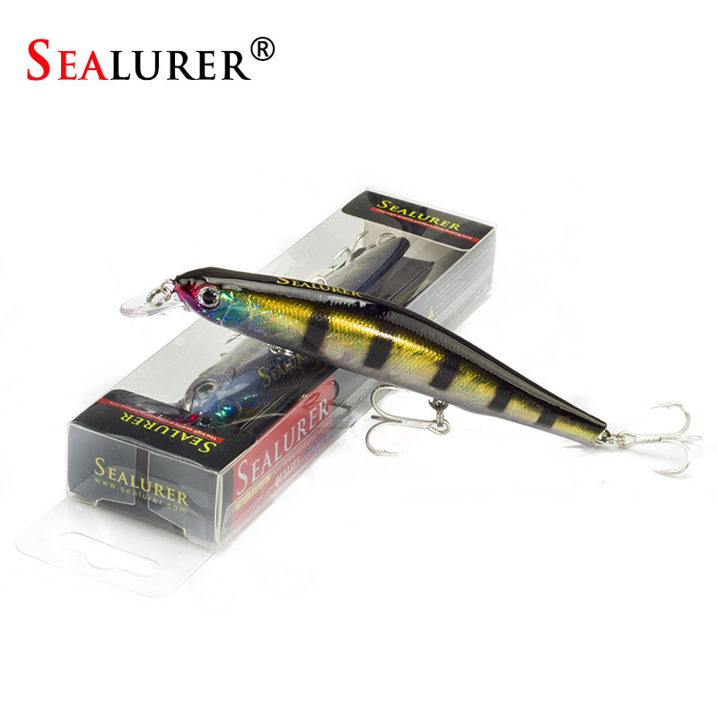 SEALURER 1PCS 12cm18.3g Boxed Fishing Lures Wobbler 3D Eyes Minnow Pesca Sinking Hard Baits Three Hooks Fishing Tackle Crankbait 1pcs 20cm 45g fishing lure large minnow lure artificial 3d eyes hard minnow baits with hooks fishing tackle senuelos de pesca