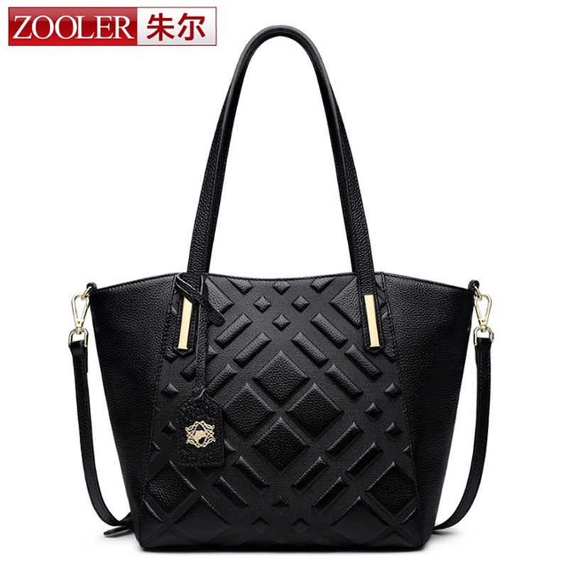 ZOOLER Women Tote Bag Real Genuine Leather Bags Women 2018 Famous Brand Ladies Handbag Designer Causal Women Shoulder Plaid Bag сумка через плечо famous designer brand genuine real leather tote bag 100