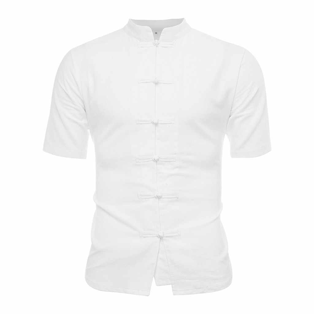 男性シャツ古典的な中国風のカンフーシャツトップス唐装半袖リネンブラウス人格 Playeras デ Hombre Camisas