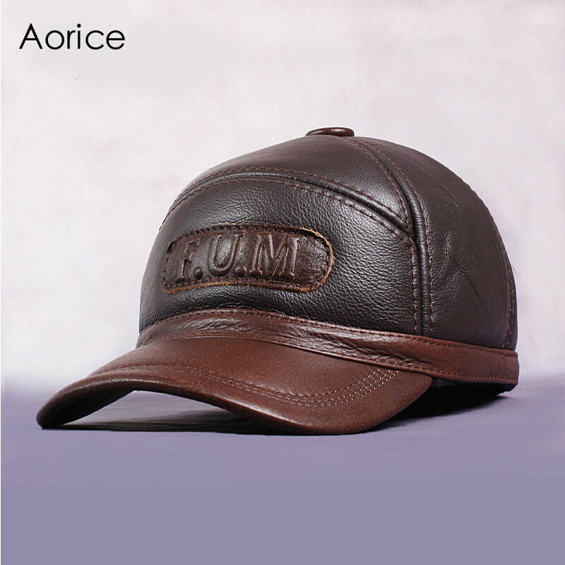 Aorice New Men's 100% Genuine Leather Baseball Cap Newsboy Autumn Winter Beret Cabbie Hat Golf HatS Brand Hat Caps HL062-2 hot winter beanie knit crochet ski hat plicate baggy oversized slouch unisex cap