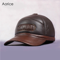 Aorice New Men's 100% Genuine Leather Baseball Cap Newsboy Autumn Winter Beret Cabbie Hat Golf HatS Brand Hat Caps HL062 2