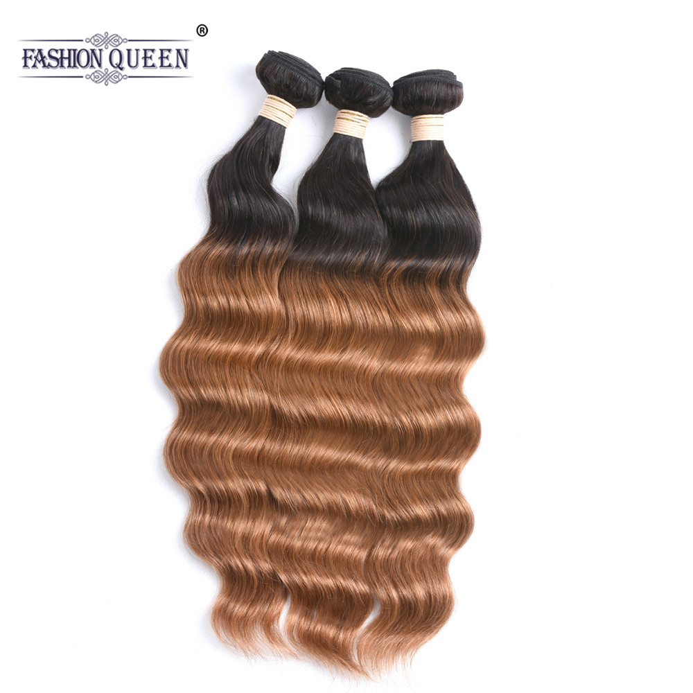 Amicable Fashion Queen Hair Ocean Wave Human Hair Bundles T1b/30# Ombre Color Hair Weavings Peruvian Human Non Remy Hair Human Hair Weaves 3/4 Bundles