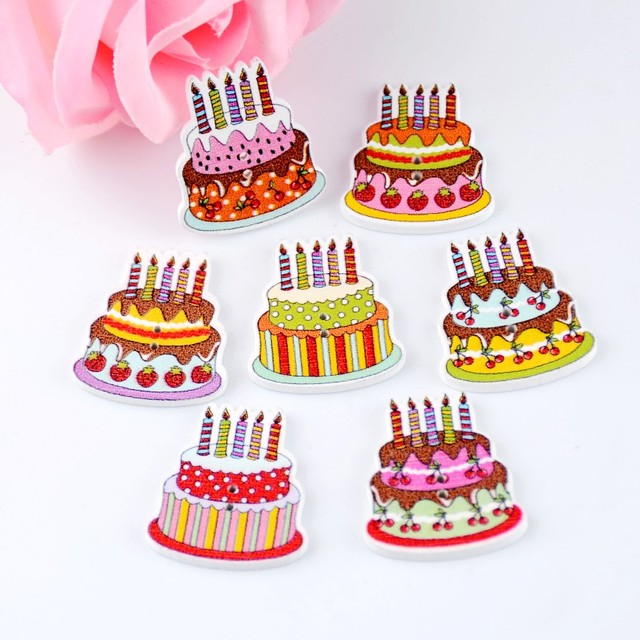 Free Shipping 10pcs Mixed 2 Holes Cartoon Birthday Cake Food Pattern Wood Sewing Buttons Scrapbooking 22x30mm F0107