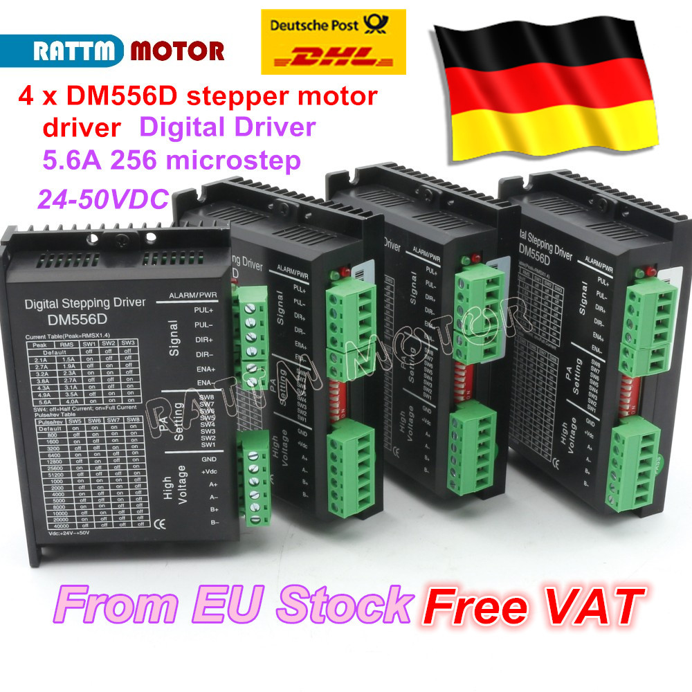 4PC DM556D Digital stepper motor driver 5.6A 256 microstep High performance design fit nema17 to nema 23 motor CNC high precision 2 phase stepper driver md2504 fit nema 17 23 motor 18 90vdc out 1 0a 4 5a cnc robot pump