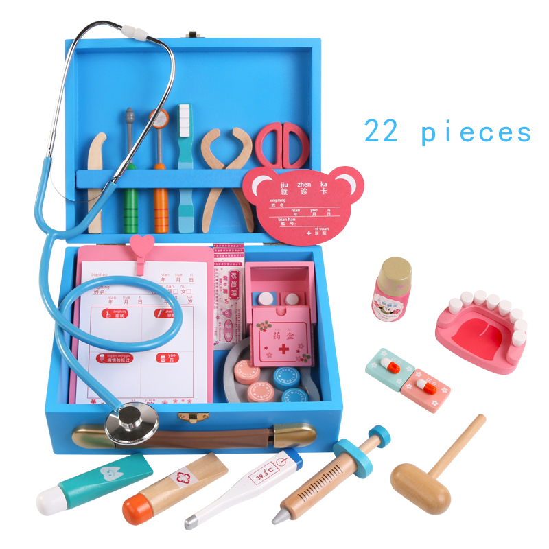 Baby  Wooden Doctor toy Simulation medicine box toys Stethoscope Injections Children gifts Educational toysBaby  Wooden Doctor toy Simulation medicine box toys Stethoscope Injections Children gifts Educational toys