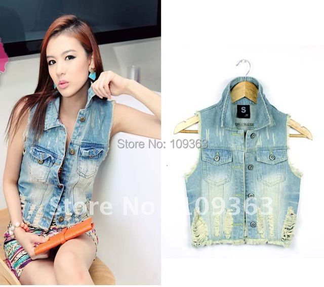 Fashion New Korean Style Vintage Wash Hole Denim Vests, Fashion Denim Jacket Women, Free shipping CQ9958