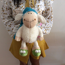 Free shipping 35cm=13.8inch NICI Sleepy Sheep Goat Ram Stuffed Animals Toys Plush Doll For Girl Friend/Children gift