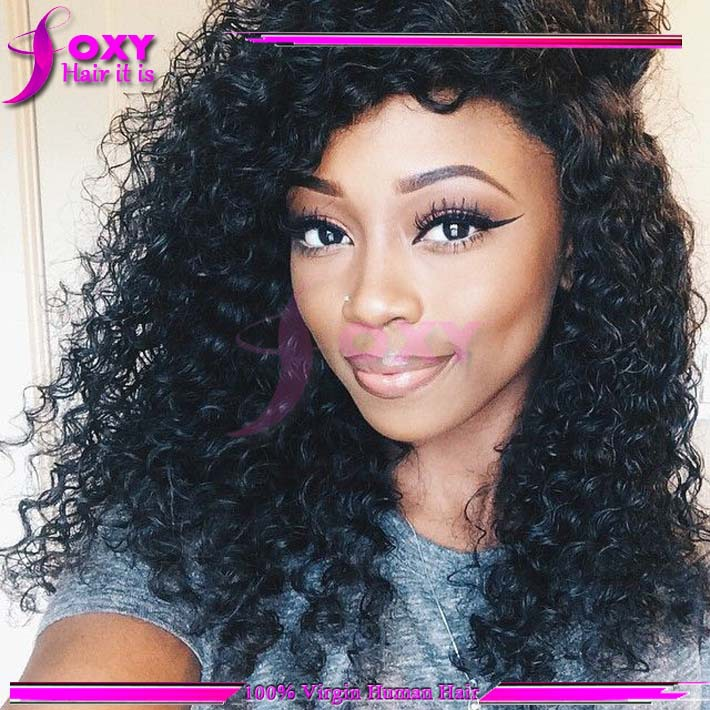 Peruvian human hair lace front wigs black women short curly full lace wig  with bangs 150 density side part wig free shipping 33f748f0cf
