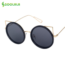SOOLALA Cat Eye Sunglasses Women Brand Designer Oversized Metal Round Frame Mirror Lens UV400 Oculos De Sol Sunglasses Men