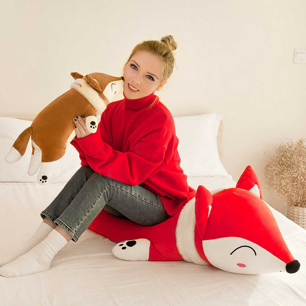 35/50/60cm muñecas lindas de animales de peluche juguetes de peluche suave cojín de espalda de dormir almohada zorro muñeca bebé muñeca regalo de cumpleaños para niños