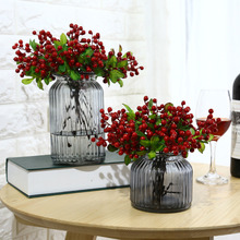 6Pcs Christmas New Year Wedding Decoration Artificial Berries Simulation Flowers Fruits Home Decoration Artificial Natal Plants