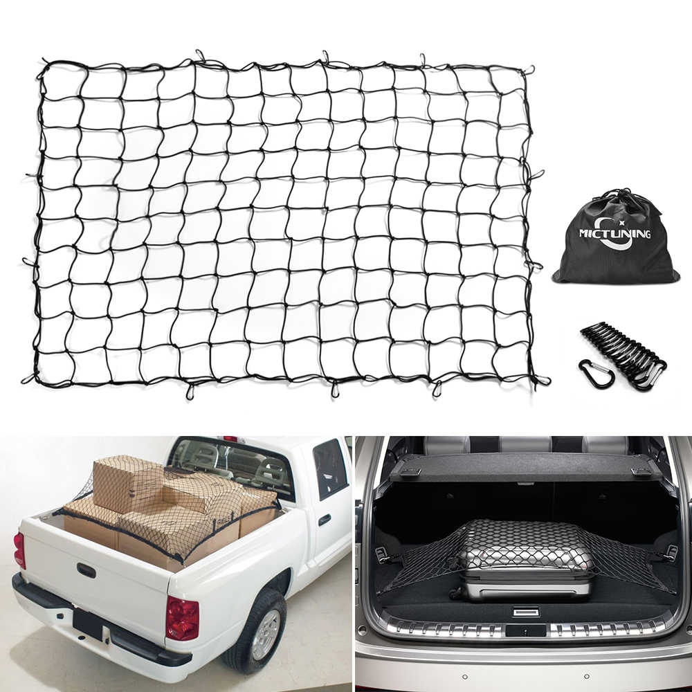 Truck Bed Cargo Net >> Mictuning 7 X5 Heavy Duty Bungee Cargo Net Stretch To 14 X10 Truck Bed Mesh 16pcs Carabiners For Loads Tighter Cargo Hitch